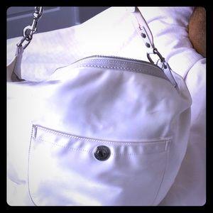 Trendy white silk Coach hobo